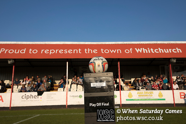 The match ball on display on a special podium in front of the stand at Yockings Park before Whitchurch Alport hosted Cammell Laird 1907 in the 2017-18 North West Counties Division One play-off final. Alport were formed in 1946 and were named after Alport Farm, Whitchurch, which had been the home of a local footballer Coley Maddocks who had been killed in action in the war. The home team won the match 2-1 watched by a crowd of 733, a club record attendance.