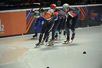 SPEEDSKATING: DORDRECHT: 05-03-2021, ISU World Short Track Speedskating Championships, QF 1500m Men, Dylan Hoogerwerf (NED), Sebastien Lepape (FRA), ©photo Martin de Jong
