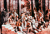 """Vatican:  Raphael's Rooms-- """"The Baptism of Constantine"""",  a fresco by Raphael in a reception room (Constantine)  of the Palace of the Vatican."""