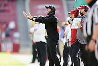 Arkansas offensive coordinator Kendal Briles reacts, Saturday, October 17, 2020 during the first quarter of a football game at Donald W. Reynolds Razorback Stadium in Fayetteville. Check out nwaonline.com/201018Daily/ for today's photo gallery. <br /> (NWA Democrat-Gazette/Charlie Kaijo)