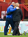 KILMARNOCK MANAGER KENNY SHIELS AND MOTHERWELL MANAGER STUART MCCALL GO OFF ARM IN ARM AT THE END OF THE GAME