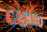 Casino sign with blurred zoomed motion Atlantic City New Jersey USA.
