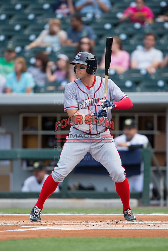 Matt den Dekker (3) of the Syracuse Chiefs at bat against the Charlotte Knights at BB&T BallPark on June 1, 2016 in Charlotte, North Carolina.  The Knights defeated the Chiefs 5-3.  (Brian Westerholt/Four Seam Images)