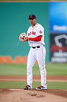 Salem Red Sox pitcher Bryan Mata (34) gets ready to deliver a pitch during a game before a game against the Lynchburg Hillcats on May 10, 2018 at Haley Toyota Field in Salem, Virginia.  Lynchburg defeated Salem 11-5.  (Mike Janes/Four Seam Images)