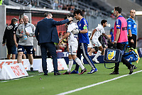 10th February 2021; Bankwest Stadium, Parramatta, New South Wales, Australia; A League Football, Western Sydney Wanderers versus Melbourne Victory; Marco Rojas of Melbourne Victory leaves the field with an injury after a high challenge as coach Grant Brebner consoles him