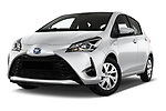 Stock pictures of low aggressive front three quarter view of 2017 Toyota Yaris Comfort 5 Door Hatchback