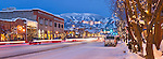 Lincoln avenue in downtown Steamboat springs glows at dusk with a fresh blanket of snow.