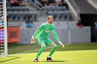 LOS ANGELES, CA - APRIL 17: Brad Stuver  #41 of Austin FC prepares for a in coming ball during a game between Austin FC and Los Angeles FC at Banc of California Stadium on April 17, 2021 in Los Angeles, California.