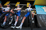 Julian Alaphilippe (FRA) and Deceunick-Quick Step at sign on before Stage 7 of the 78th edition of Paris-Nice 2020, running 166.5km from Nice to Valdeblore La Colmiane, France. 14th March 2020.<br /> Picture: ASO/Fabien Boukla | Cyclefile<br /> All photos usage must carry mandatory copyright credit (© Cyclefile | ASO/Fabien Boukla)