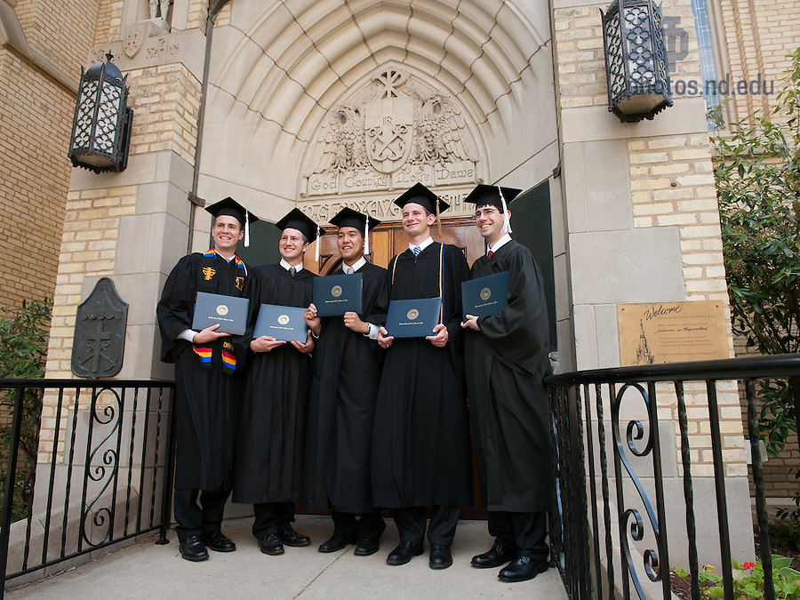 May 22, 2011; Graduates pose in front of the east door of the Basilica of the Sacred Heart...Photo by Matt Cashore/University of Notre Dame