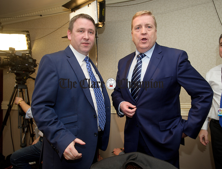 Joe Carey, Fine Gael, and Pat Breen, Fine Gael, at the count. Photograph by John Kelly.