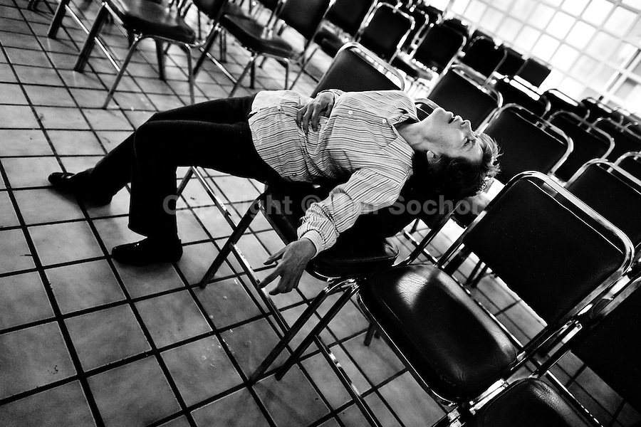 A Mexican woman struggles during the exorcism ritual performed at the Church of the Divine Saviour on outskirts of Mexico City, Mexico, 31 May 2011. Exorcism is an ancient religious technique of evicting spirits, generally called demons or evil, from a person which is believed to be possessed. Although the formal catholic rite of exorcism is rarely seen and must be only conducted by a designated priest, there are many Christian pastors and preachers (known as 'exorcistas') performing exorcism and prayers of liberation. Using their strong charisma, special skills and religous formulas, they command the evil spirit to depart a victim's mind and body, usually invoking Jesus Christ or God to intervene in favour of a possessed person.