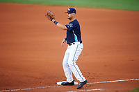 Charlotte Stone Crabs first baseman Nathaniel Lowe (7) during the second game of a doubleheader against the Tampa Yankees on July 18, 2017 at Charlotte Sports Park in Port Charlotte, Florida.  Charlotte defeated Tampa 2-1.  (Mike Janes/Four Seam Images)