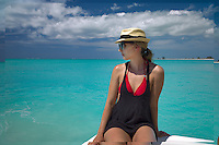 Woman on boat at Pine Cay. Turks and Caicos