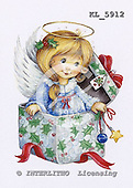 Interlitho, Theresa, CHRISTMAS CHILDREN, paintings, angel into a box, KL5912,#xk# stickers stickers