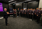 Sir Graham Henry talks to the 1st XV. Kings College 1st XV Jersey Presentation at Bayleys Real Estate Head Office, Viaduct Harbour, Auckland, New Zealand. Wednesday 3 May 2017. Photo: Simon Watts/www.bwmedia.co.nz for Kings College