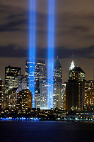 Sept 11, 2006 - File Photo  The ?Tribute in Light? memorial is in remembrance of the events of September 11, 2001, in honor of the citizens who lost their lives in the World Trade Center attacks. The two towers of light are composed of two banks of high wattage spotlights that point straight up from a lot next to Ground Zero. The ?Tribute in Light? memorial was first held in March 2002. This photo was taken from Liberty State Park, New Jersey on September11, 2006, the five year anniversary of 9/11. USAF photo by Denise Gould.