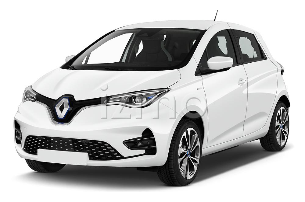 2020 Renault ZOE Edition-One 5 Door Hatchback Angular Front automotive stock photos of front three quarter view