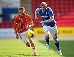 St Johnstone v Blackpool...25.07.15  McDiarmid Park, Perth.. Pre-Season Friendly<br /> Brian Easton gets away from David Ferguson<br /> Picture by Graeme Hart.<br /> Copyright Perthshire Picture Agency<br /> Tel: 01738 623350  Mobile: 07990 594431