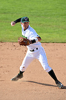 Jamestown Jammers shortstop Tyler Filliben (15) throws to first during a game against the Vermont Lake Monsters on July 13, 2014 at Russell Diethrick Park in Jamestown, New York.  Jamestown defeated Vermont 6-2.  (Mike Janes/Four Seam Images)