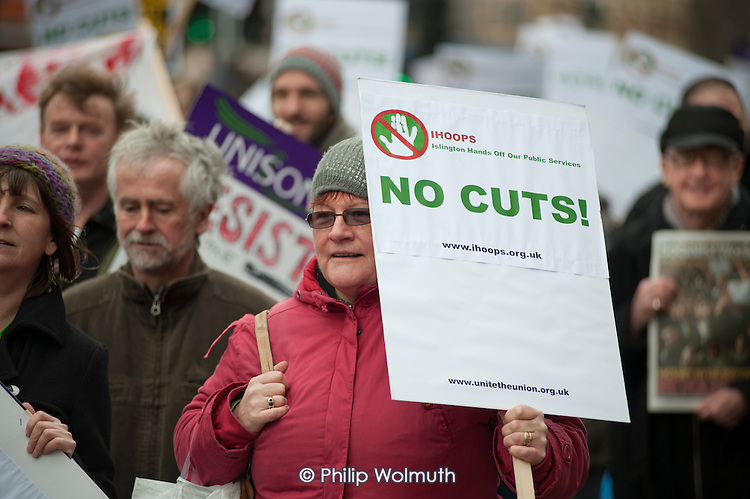Islington Hands Off Our Public Services coalition march to protest at public spending cuts.