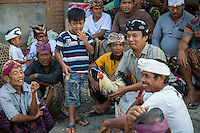 Bali, Indonesia.  Balinese Gathering for a Cockfight in a Rural Village.