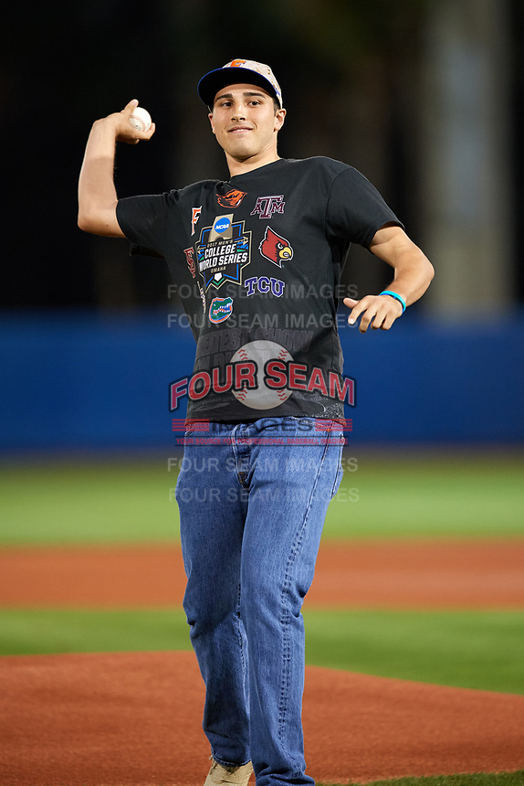 Florida Gators alumni Alex Faedo throws out the ceremonial first pitch before a game against the Siena Saints on February 16, 2018 at Alfred A. McKethan Stadium in Gainesville, Florida.  Florida defeated Siena 7-1.  (Mike Janes/Four Seam Images)