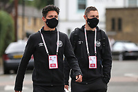 Christian Norgaard and Henrik Dalsgaard arrive at the ground ahead of kick-off wearing their masks during Brentford vs Preston North End, Sky Bet EFL Championship Football at Griffin Park on 15th July 2020