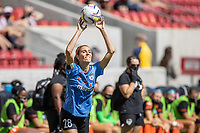 SANDY, UT - JULY 26: Kayla Sharples #28 of Chicago Red Stars throw in during a game between Chicago Red Stars and Houston Dash during the NWSL Challenge Cup Championship held at Rio Tinto Stadium on July 26, 2020 in Sandy, Utah.