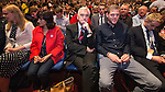 © Joel Goodman - 07973 332324 . 28/09/2016 . Liverpool , UK . CAT SMITH , Jeremy Corbyn's wife LAURA ALVAREZ , JOHN MCDONNELL , TOMMY CORBYN and BEN CORBYN sit for the Leader's Speech at the close of the final day of the Labour Party Conference at the ACC in Liverpool . Photo credit : Joel Goodman