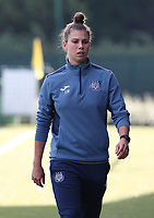 Assistant physical coach Leslie Nothomb of Anderlecht pictured during the warm up before a female soccer game between Oud Heverlee Leuven and RSC Anderlecht on the fifth matchday of the 2021 - 2022 season of Belgian Womens Super League , sunday 3 October 2021  in Leuven , Belgium . PHOTO SPORTPIX.BE   SEVIL OKTEM