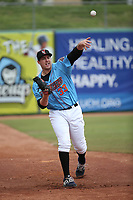 Connor Higgins (33) of the Inland Empire 66ers throws in the bullpen during a game against the Stockton Ports at San Manuel Stadium on May 26, 2019 in San Bernardino, California. (Larry Goren/Four Seam Images)