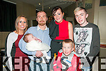 Baby Autumn Lily Dillon-Leahy who was christened at Kinockanure Church on Saturday by Fr. Lucid pictured with her parents John Leahy & Charmaine Dillon and brother Oran god parents Lynda O'Sullivan & Ian Dillon at the Star & Garter Bar, Listowel on Saturday afternoon last.