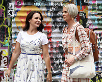NEW YORK, NY - July 20: Kristin Davis and Cynthia Nixon on the set of the HBOMax Sex and the City reboot series And Just Like That on July 20, 2021 in New York City. Credit: RW/MediaPunch
