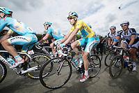 yellow jersey Vincenzo Nibali (ITA/Astana) escorted by his teammates near the front<br /> <br /> 2014 Tour de France<br /> stage 4: Le Touquet-Paris-Plage/Lille Métropole (163km)