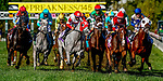 October 3, 2020: The field heads into the first turn in The Futurity Stakes during Preakness Stakes Day at Pimlico Race Course in Baltimore, Maryland. John Voorhees/Eclipse Sportswire/CSM