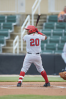 Israel Pineda (20) of the Hagerstown Suns at bat against the Kannapolis Intimidators at Kannapolis Intimidators Stadium on August 26, 2019 in Kannapolis, North Carolina. The Suns defeated the Intimidators 4-1. (Brian Westerholt/Four Seam Images)