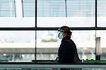 Passengers await their flight during the new confinement measures at Adolfo Suarez Madrid Barajas on October 05 in Madrid, Spain.(ALTERPHOTOS/ItahisaHernandez)