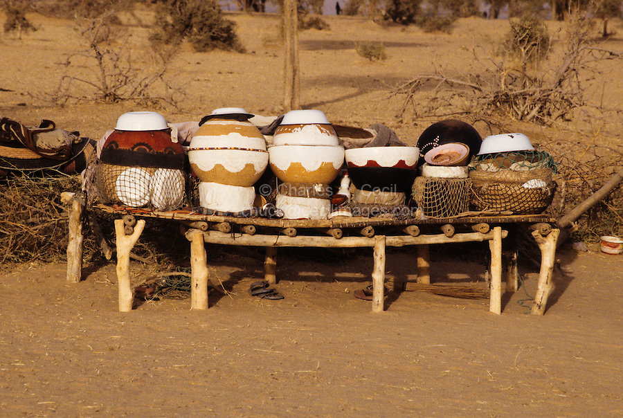 Akadaney, Central Niger, West Africa.  Fulani Nomads.  Food Storage and Eating Utensils on Display.