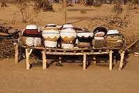 Akadaney, Central Niger, West Africa.  Fulani Nomads.  Food Storage and Eating Utensils on Display.