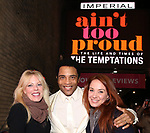 """Sherie Rene Scott and Sierra Bogess with James Harkness  starring in """"Ain't Too Proud: The Life And Times Of The Temptations"""" after their first Broadway preview performance at The Imperial Theatre on February 28, 2019 in New York City."""