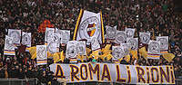 Calcio, Serie A: Roma vs Inter. Roma, stadio Olimpico, 20 gennaio 2013..AS Roma fans wave flags prior to the start of the Italian Serie A football match between AS Roma and FC Inter at Rome's Olympic stadium, 20 January 2013..UPDATE IMAGES PRESS/Isabella Bonotto