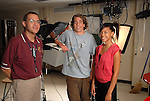 Carver High School media teacher Danny Gonzalaes with students Ian Reese and Danielle Washington at the schools' studio Wednesday June 4,2008.(Dave Rossman/For the Chronicle)