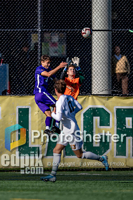 5 October 2019: University of Vermont Catamount Goalkeeper Aron Runarsson, a Senior from Akureyri, Iceland, makes a save in the second half against the University at Albany Great Danes, on Virtue Field in Burlington, Vermont. The Catamounts fell to the visiting Danes 3-1 in America East, Division 1 play. Mandatory Credit: Ed Wolfstein Photo *** RAW (NEF) Image File Available ***