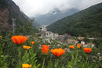 The town of Heishui, which lies in a valley between steep mountains in the foothills of the Tibetan Plateau, in the Tibetan region of Aba in northern Sichuan province.