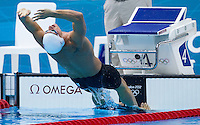 01 AUG 2012 - LONDON, GBR - Ryan Lochte (USA) of the USA) starts his men's 200m Backstroke heat during the morning session of the London 2012 Olympic Games Swimming at the Aquatic Centre in the Olympic Park, in Stratford, London, Great Britain .(PHOTO (C) 2012 NIGEL FARROW)