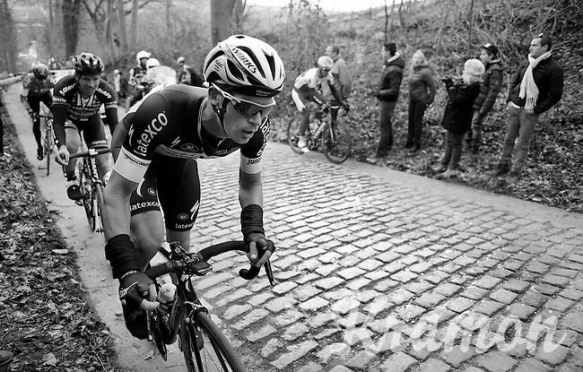 Iljo Keisse (BEL/Etixx-QuickStep) in the gutter over the Taaienberg<br /> <br /> Omloop Het Nieuwsblad 2015
