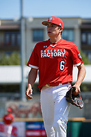 Pitcher Mitch Bratt (6) walks to the dugout during the Baseball Factory All-Star Classic at Dr. Pepper Ballpark on October 4, 2020 in Frisco, Texas.  Pitcher Mitch Bratt (6), a resident of Newmarket, Ontario, Canada, attends Newmarket High School.  (Mike Augustin/Four Seam Images)
