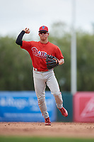 Philadelphia Phillies Luis Rojas (9) throws to first base during a Florida Instructional League game against the Baltimore Orioles on October 4, 2018 at Ed Smith Stadium in Sarasota, Florida.  (Mike Janes/Four Seam Images)