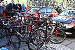 BMC Racing Team bikes lined up beside the team cars at sign on before the start of the 96th edition of The Tour of Flanders 2012 in Bruges Market Square, running 256.9km from Bruges to Oudenaarde, Belgium. 1st April 2012. <br /> (Photo by Steven Franzoni/NEWSFILE).